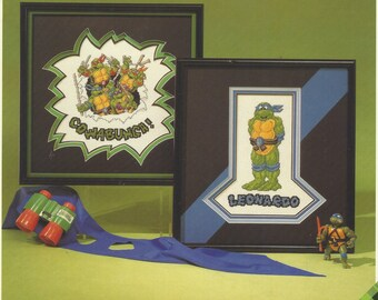 Vintage Leonardo and Cowabunga Counted Cross Stitch Leaflet 9001 by Plaid Enterprises Cross Stitch Charts Perfect for Boys Rooms