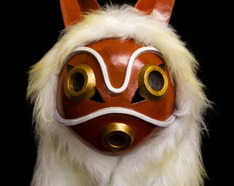 Princess Mononoke mask with faux fur hood