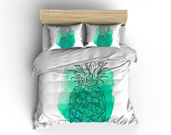 Turquoise Pineapple Duvet Cover , Pineapple Duvet , Bedding , Bedroom Decor , Dorm Bedding , Bedroom Decor , Housewares , Designed Duvet