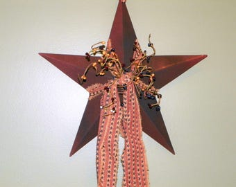 Metal Star Burgundy with Antique Black 12 Inch Metal Star with Mustard, Burgundy and Navy Pip Berries