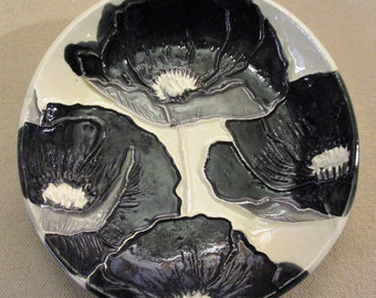 "Black & White Poppies!  Handmade Ceramic jewelry, soap, trinket, ring dish    5""                                              #1"