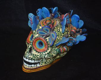 """Magnificent Day Of the Dead Ceramics Human Blue Butterfly Head 6""""x3""""x6"""".   PP135"""