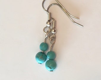 Turquoise Magnesite Earrings on Surgical Steel Earwires Magnesite Features the Look of Turquoise Without the Price Petite Dangles
