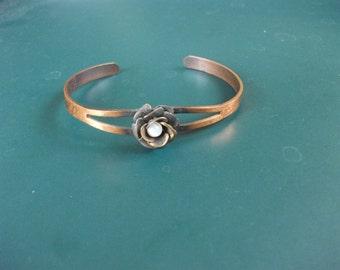 Vintage Solid Copper Bead Flower Cuff Bracelet