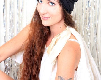 Turban with Bow - Black Hair Wrap in Jersey Knit - Women's Fashion Head Covering - Lots of Colors