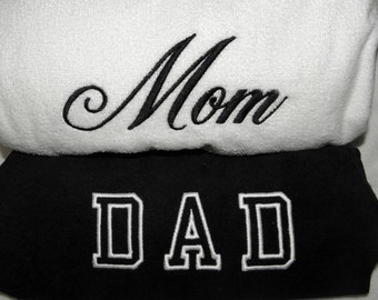 MOM & DAD Beach TOWELS with Canvas Tote Bag Embroidered 100% cotton terry velour For the Beach, Hot Tub or Bath Made to Order