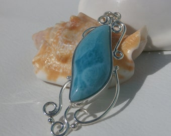 Larimar  Stone Pendant Handcrafted In Sterling Silver 925