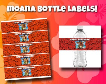 moana water bottle label; moana bottle labels; moana birthday party labels; printable labels