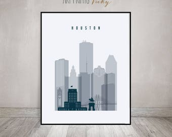 Houston wall art, poster, Print, Houston skyline, Travel decor, Texas cityscape, City print, Typography art, Home Decor, Gift ArtPrintsVicky