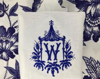 Monogrammed Tissue Box Cover Linen-Pagoda with initial-monogrammed gift-personalized gift