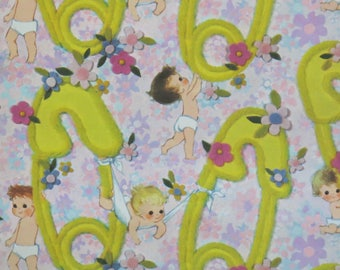 Vintage American Greetings For BABY - Gift Wrap - Wrapping Paper - BABIES with Giant Yellow Diaper PINS - 1960s