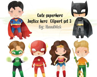 Cute superhero Clipart set 3, Justice hero clipart  PNG file-300 dpi