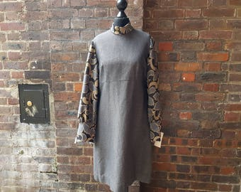 Vintage 1960s Mod Gogo Long Sleeved Dress | Metallic Vintage Party Dress
