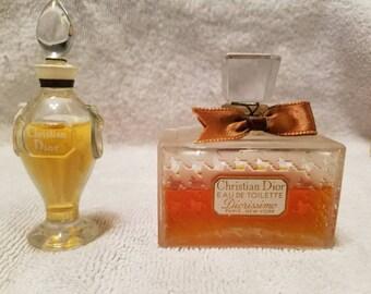 Vintage 1950's Christian Dior Diorissimo Parfum & Eau De Toilette Coffret Duo  Flacon