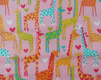 Giraffe Love Print by Michael Millar-for quilting, sewing, home decor.