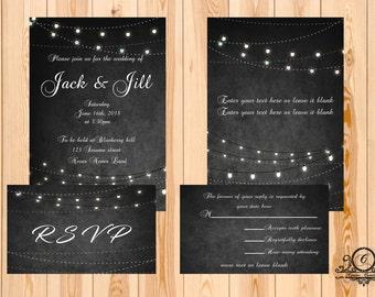 String lights template,editable,RSVP card,wedding,Editable Text,Invitation Template, Printable Wedding Invitations,Kraft Wedding Invitation,