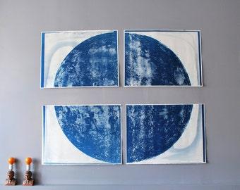 Paneled Cyanotype Lunar Map