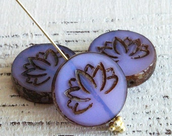 Lotus Flower Coin Beads - Czech Glass Beads For Jewelry Making Supply - Opaline Lavender 18mm Coin - 2 Beads