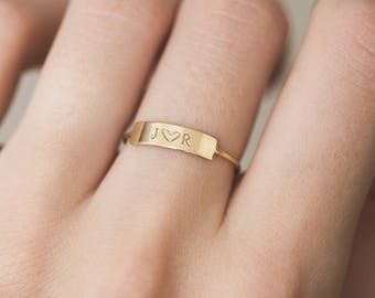 Personalized Bar Ring •  Custom Initial Ring • Hand Stamped Name • 14k Gold Fill, Sterling Silver • Dainty Bar Ring • layeredandlong, LR458