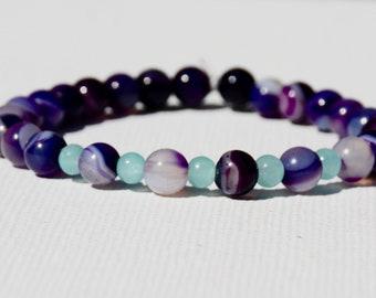 Purple stripe Agate & turquoise beaded gemstone stretch bracelet