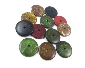 12 Donuts coconut wood beads mixed colors 25mm