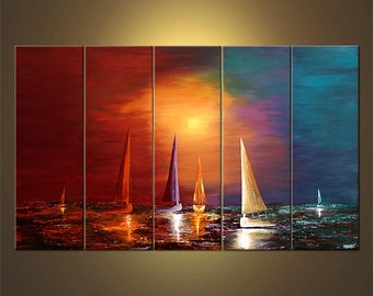 "Colorful Sailboats Painting Original Abstract Seascape Acrylic Painting by Osnat - MADE-TO-ORDER - 60""x36"""