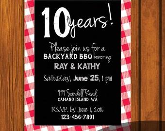 Anniversary Party / Anniversary Invite / Anniversary BBQ / Picnic Invitation / BBQ Invitation / Wedding Invitation / Red and White