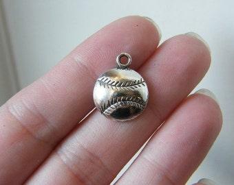BULK 50 Baseball ball charms antique silver tone SP1