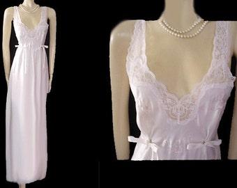 Vintage Barbizon Bridal Troussseau Satin Nightgown Pearls Embroidery Bows designer nightgown bridal nightgown white nightgown