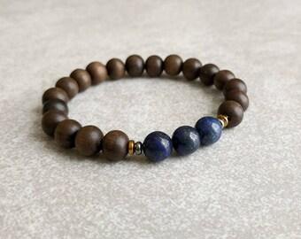 Mens Bracelet - Lapis Lazuli and Graywood - Gifts For Him - Mala Bracelet - Energy Bracelet - Stretch Bracelet - Yoga Bracelet - Item #380