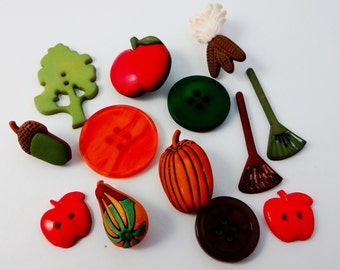 Autumn button embellishments, set of 13, for your fall scrapbooking, cardmaking or paper crafting projects.