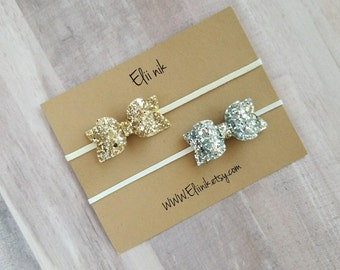 Gold bow headband, baby gold bow headband, gold bow, silver bow headband, gold glitter bow, baby girl bow headband, Newborn headband