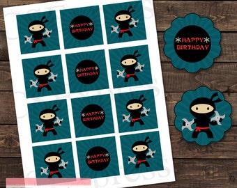 Blue Ninja Cupcake Toppers/Favor Tags