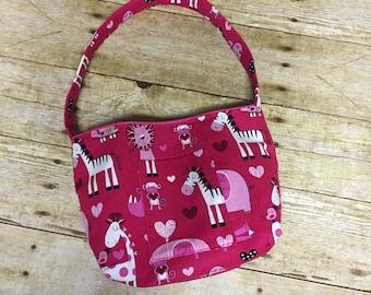 Pink Zebra Little Girl's Purse, Little Lady Purse with Optional Coin Purse, Pink Toddler Purse, Little Girls Gift