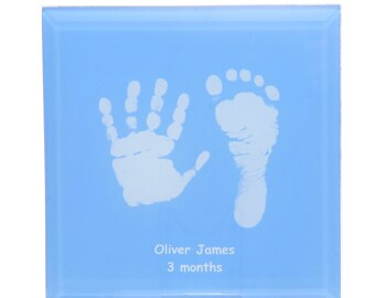 Glass Tile Displaying Baby Hand and Foot Print - Print Taking Kit Is Supplied - Choice of 7 Colours - baby Keepsake - Gift For New Parents