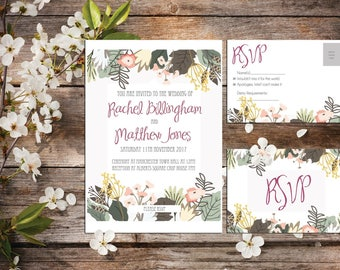 A6 Forest flower invitations with RSVP