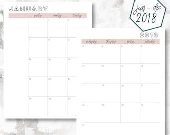 The 2 Page Calendar, Sunday Start | January - December 2018 | Happy Planner Size | Printable Planner | Calendar | OG Style