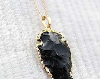 Obsidian Arrowhead Pendant