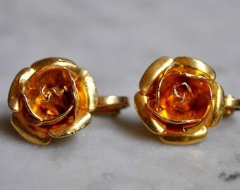 Petite Gold Rose Earring