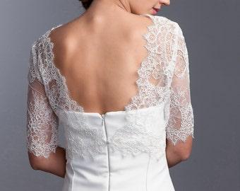Bridal lace jacket, Wedding bolero with 3/4 sleeves, Lace topper, Wedding lace topper, Bridal topper