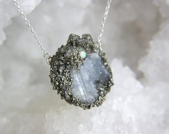 Crystal quartz point geode fairy cave necklace, sterling silver opal quartz herkimer diamond pyrite pendant