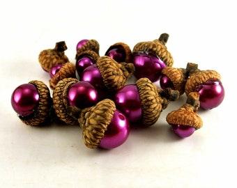 Eleven Pink Bead Acorn Thumbtacks Push Pins Natural Acorn Caps Pink Mixed Size Beads Pink Bead Push Pins