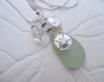 Sand Dollar Sea Glass Necklace Sterling Beach Jewelry Pendant