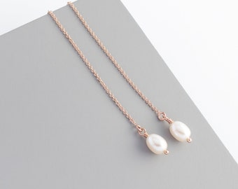 Rose gold filled ear threader earrings with freshwater ivory pearls; pearl threaders; pearl earrings; pull through earrings; thread earrings
