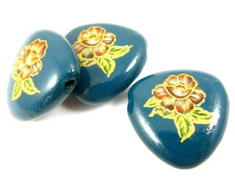2 - Vintage Rounded Triangle Glass Beads with Pink Flower - Teal Blue - 20mm