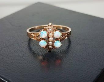 Victorian 1880s 10K Opal Seedpearl ring