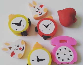 7, Vintage, retro, erasers, rubbers, alarm clock, phone, rabbit, 3d love heart, 1980s, 80s, by NewellsJewels on etsy