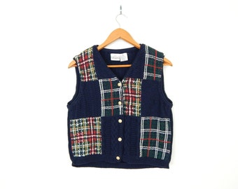 Vintage 90s Plaid Patchwork Women's Sweater Vest - Medium - Preppy Blue Red Green Cotton Knit Hipster Golf Vest