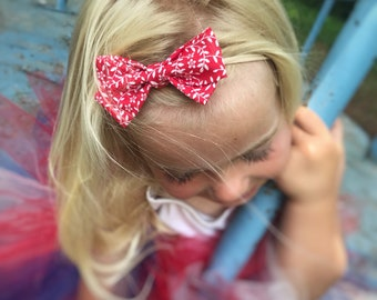 Red Floral Vine Bow Headband