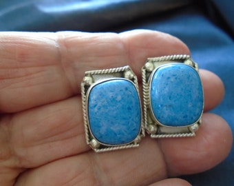 NEW LISTING - Denim Lapis Mexico Etched Push Back Rectangular Sterling Silver Earrings